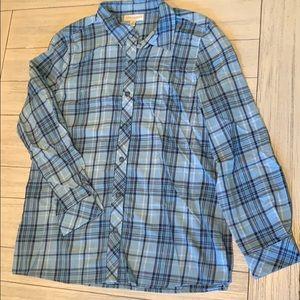 100% cotton plaid button down shirt EUC